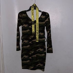 Camo Dress, and belt.